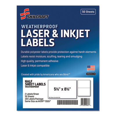 7530016736219 SKILCRAFT WEATHERPROOF MAILING LABELS, LASER PRINTERS, 5.5 X 8.5, WHITE, 2/SHEET, 50 SHEETS/PACK