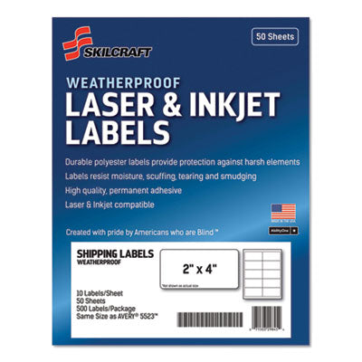 7530016736220 SKILCRAFT WEATHERPROOF MAILING LABELS, LASER PRINTERS, 2 X 4, WHITE, 10/SHEET, 50 SHEETS/PACK