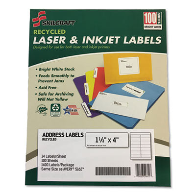 7530016736513 SKILCRAFT RECYCLED LASER AND INKJET LABELS, INKJET/LASER PRINTERS, 1.33 X 4, WHITE, 14/SHEET, 100 SHEETS/BOX