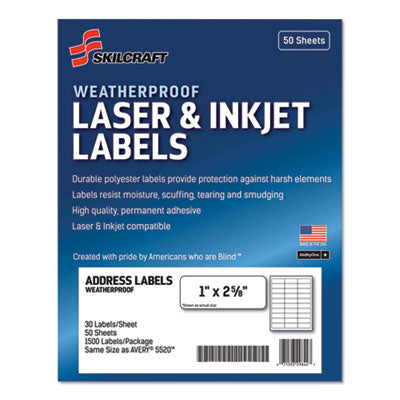 7530016736516 SKILCRAFT WEATHERPROOF MAILING LABELS, LASER PRINTERS, 1 X 2.63, WHITE, 30/SHEET, 50 SHEETS/BOX