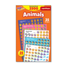 Load image into Gallery viewer, SUPERSPOTS AND SUPERSHAPES STICKER PACKS, ANIMAL ANTICS, ASSORTED, 2500 STICKERS