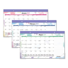 Load image into Gallery viewer, WATERCOLORS RECYCLED MONTHLY DESK PAD CALENDAR, 17 3/4 X 10 7/8, 2019