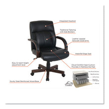 Load image into Gallery viewer, KATHY IRELAND BY ALERA DORIAN SERIES WOOD-TRIM LEATHER CHAIR, BLACK/MAHOGANY