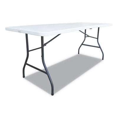FOLD-IN-HALF RESIN FOLDING TABLE, 60W X 30D X 29H, WHITE