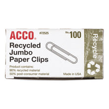 Load image into Gallery viewer, Recycled Paper Clips, Smooth, Jumbo, 100/box, 10 Boxes/pack