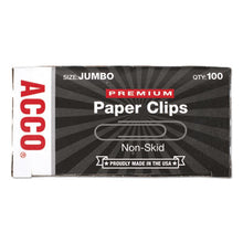 Load image into Gallery viewer, Premium Paper Clips, Nonskid, Jumbo, Silver, 100/box, 10 Boxes/pack