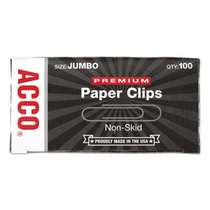 Premium Paper Clips, Nonskid, Jumbo, Silver, 100/box, 10 Boxes/pack