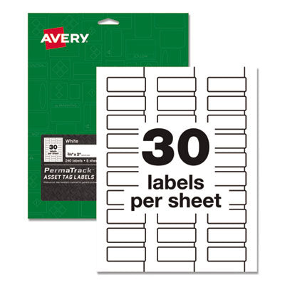 PERMATRACK DURABLE WHITE ASSET TAG LABELS, LASER PRINTERS, 0.75 X 2, WHITE, 30/SHEET, 8 SHEETS/PACK
