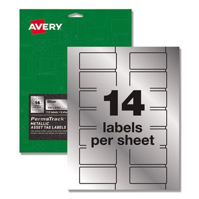 PERMATRACK METALLIC ASSET TAG LABELS, LASER PRINTERS, 1.25 X 2.75, SILVER, 14/SHEET, 8 SHEETS/PACK
