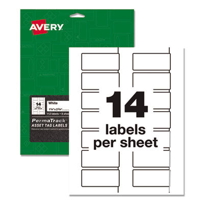 PERMATRACK DURABLE WHITE ASSET TAG LABELS, LASER PRINTERS, 1.25 X 2.75, WHITE, 14/SHEET, 8 SHEETS/PACK