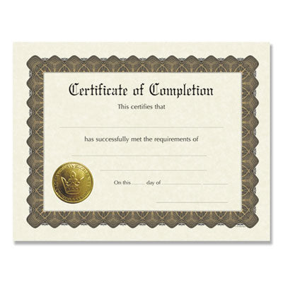 READY-TO-USE CERTIFICATES, 11 X 8.5, IVORY/BROWN, COMPLETION, 6/PACK