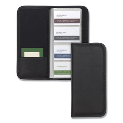 Professional Vinyl Business Card File, 160 Card Cap, 2 X 3 1/2 Cards, Black