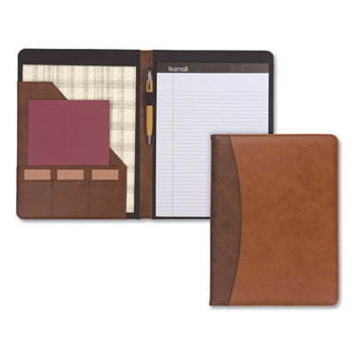 TWO-TONE PADFOLIO WITH SPINE ACCENT, 10 3/5W X 14 1/4H, POLYURETHANE, TAN/BROWN