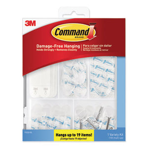 CLEAR HOOKS AND STRIPS, PLASTIC, ASST, 16 PICTURE STRIPS/15 HOOKS/22 STRIPS/PK