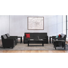Load image into Gallery viewer, CIRCULATE LEATHER RECEPTION THREE-CUSHION SOFA, 73W X 28 3/4D X 32H, BLACK