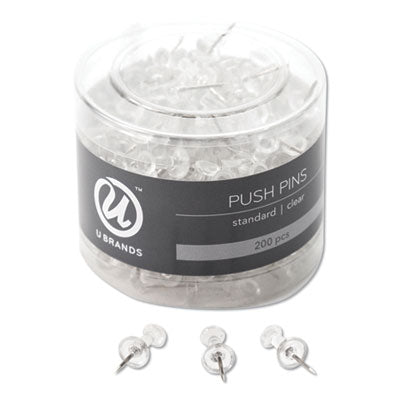 STANDARD PUSH PINS, PLASTIC, CLEAR, 7/16