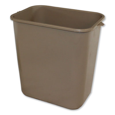 SOFT-SIDED WASTEBASKET, RECTANGULAR, POLYETHYLENE, 28 QT, BEIGE
