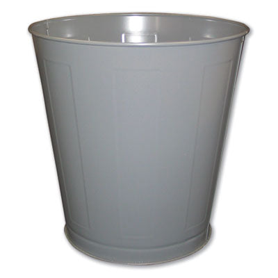 ROUND METAL WASTEBASKET, ROUND, STEEL, 28 QT, GRAY