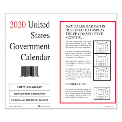 7530016649501 MONTHLY WALL CALENDAR, 9 X 11, 2020, 10/PACK