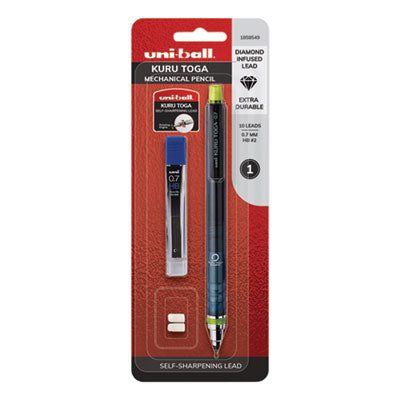 KURUTOGA MECHANICAL PENCIL, 0.7 MM, HB (#2), BLACK LEAD, BLACK/GREEN BARREL