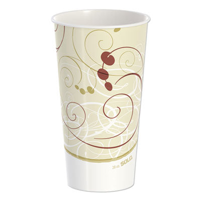 DOUBLE SIDED POLY PAPER COLD CUPS, 28 OZ, SYMPHONY DESIGN, 40/PACK, 12 PACKS/CARTON