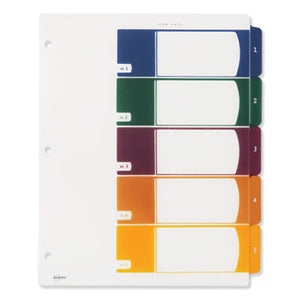 CUSTOMIZABLE TOC READY INDEX PLASTIC MULTICOLOR DIVIDERS, 5-TAB, LETTER