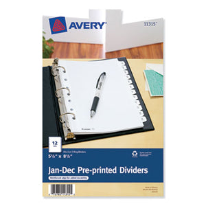 Preprinted Tab Dividers, 12-Tab, 8 1/2 X 5 1/2