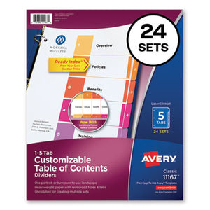CUSTOMIZABLE TOC READY INDEX MULTICOLOR DIVIDERS, 5-TAB, LETTER, 24 SETS