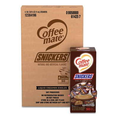 LIQUID COFFEE CREAMER, SNICKERS, 0.38 OZ MINI CUPS, 200 CUPS/CARTON