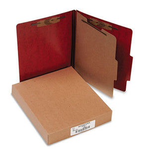20-Pt Presstex Classification Folders, Letter, 4-Section, Red, 10/box