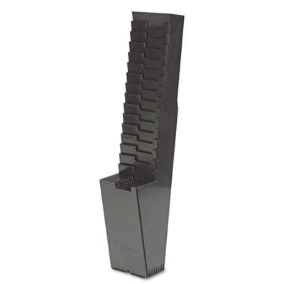 25-Pocket Expanding Time Card Rack, Plastic, Black