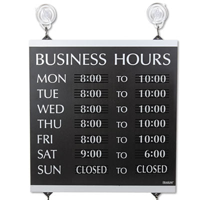 Century Series Business Hours Sign, Heavy-Duty Plastic, 13 X 14, Black