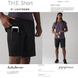"Lululemon - T.H.E.Short9"" (Black) (LL01577)"