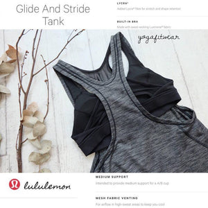 Lululemon -  Glide&StrideTank*Medium support (Heathered Black) (LL01450S)