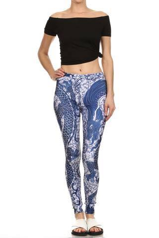 Poprageous Legging - Blue China Dragon Legging