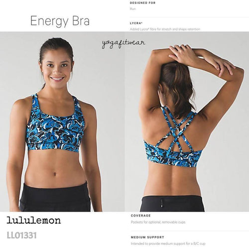 Lululemon - Energy Bra (mini boom bloom beach blanket blue ice milk) (LL01331)