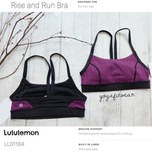 Lululemon - Rise and Run Bra (Teeny Tooth Deep Fuchsia black) (LL01184)