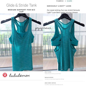 Lululemon - Glide&Stride Tank*Medium support (Heathered Viridian Green) (LL01707)