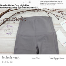 "Lululemon : Wunder Under Crop High-Rise*Roll Down Scallop *Full-on Luxtreme 23"" (Lunar Rock) (LL03713)"