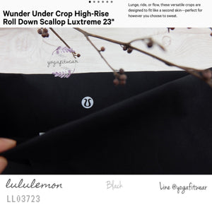 "Lululemon : Wunder Under Crop High-Rise*Roll Down Scallop Full-On Luxtreme 23"" (Black) (LL03723)"