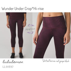 Lululemon - Wunder Under Crop*Hi-rise (Shifted horizon red grape black) (LL00597)