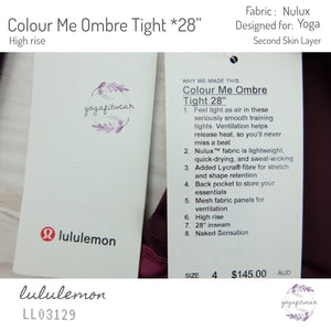 "Lululemon - Colour Me Ombre Tight*28"" (Dark Adobe/Blush Berry/Violet Red) (LL03129)"