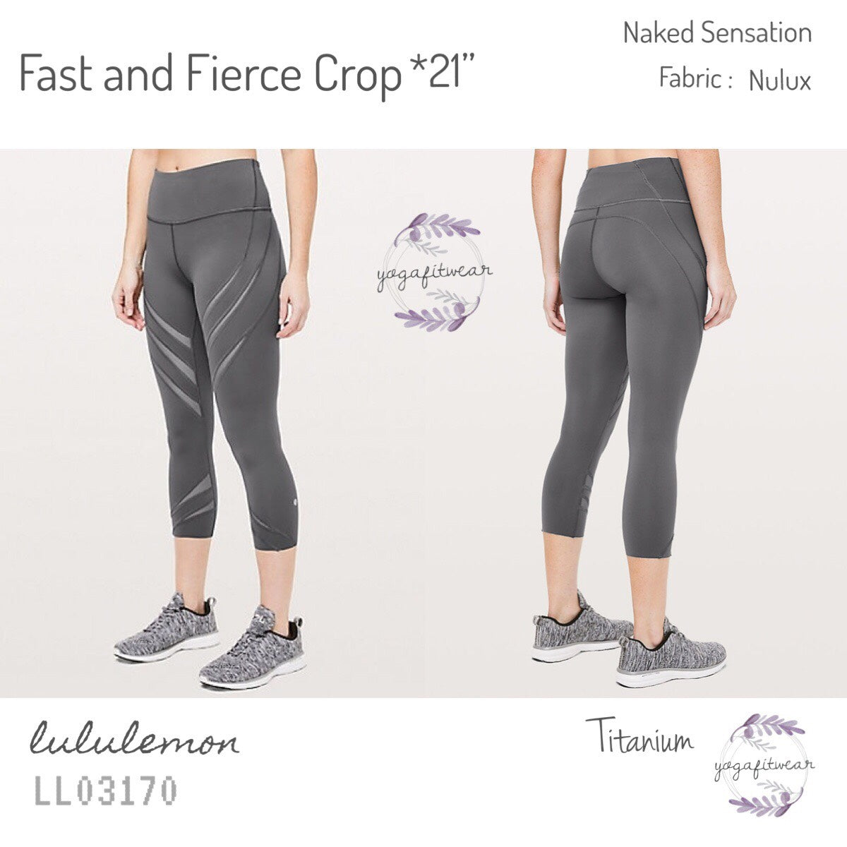 "Lululemon - Fast and Fierce Crop * 21"" (Titanium) (LL03170)"