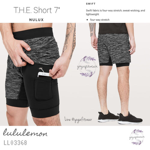 "Lululemon - T.H.E.Short 7"" *Nulux (All Court Texture White Black) (LL03368)"