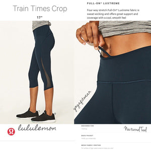 "Lululemon - Train Tmes Crop 17"" (Nocturnal Teal) (LL01939)"