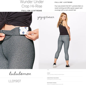 Lululemon - Wunder Under Crop Hi-rise *Full-on Luxtreme (Fractal Alpine White Black) (LL01907)