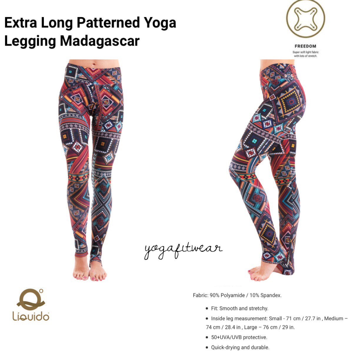 Liquido - Extra Long Patterned Yoga Legging Madagascar (LQ00494)