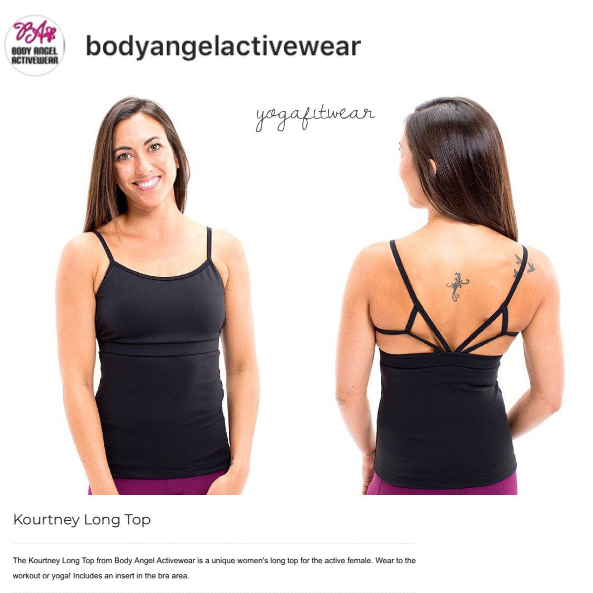 Body Angel Activewear - Kourtney Long Top (Black) (BA00007)