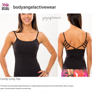 Body Angel Activewear - CandyLong Top (Black) (BA00009)