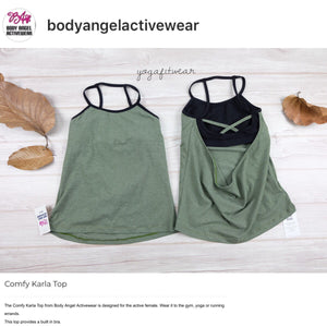 Body Angel Activewear - Comfy Karla  Top (Sage-green/black) (BA00010)